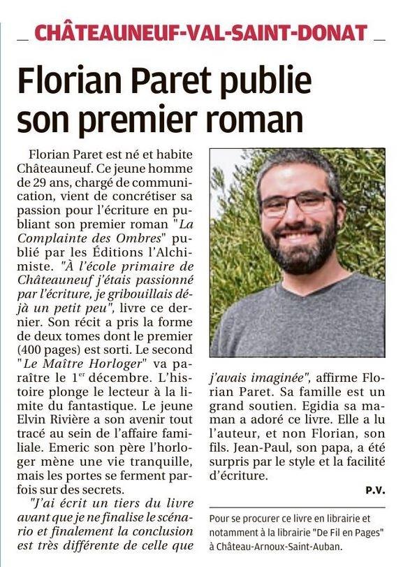 """Le quotidien """"La Provence"""" La Complainte des Ombres -Florian Paret"""