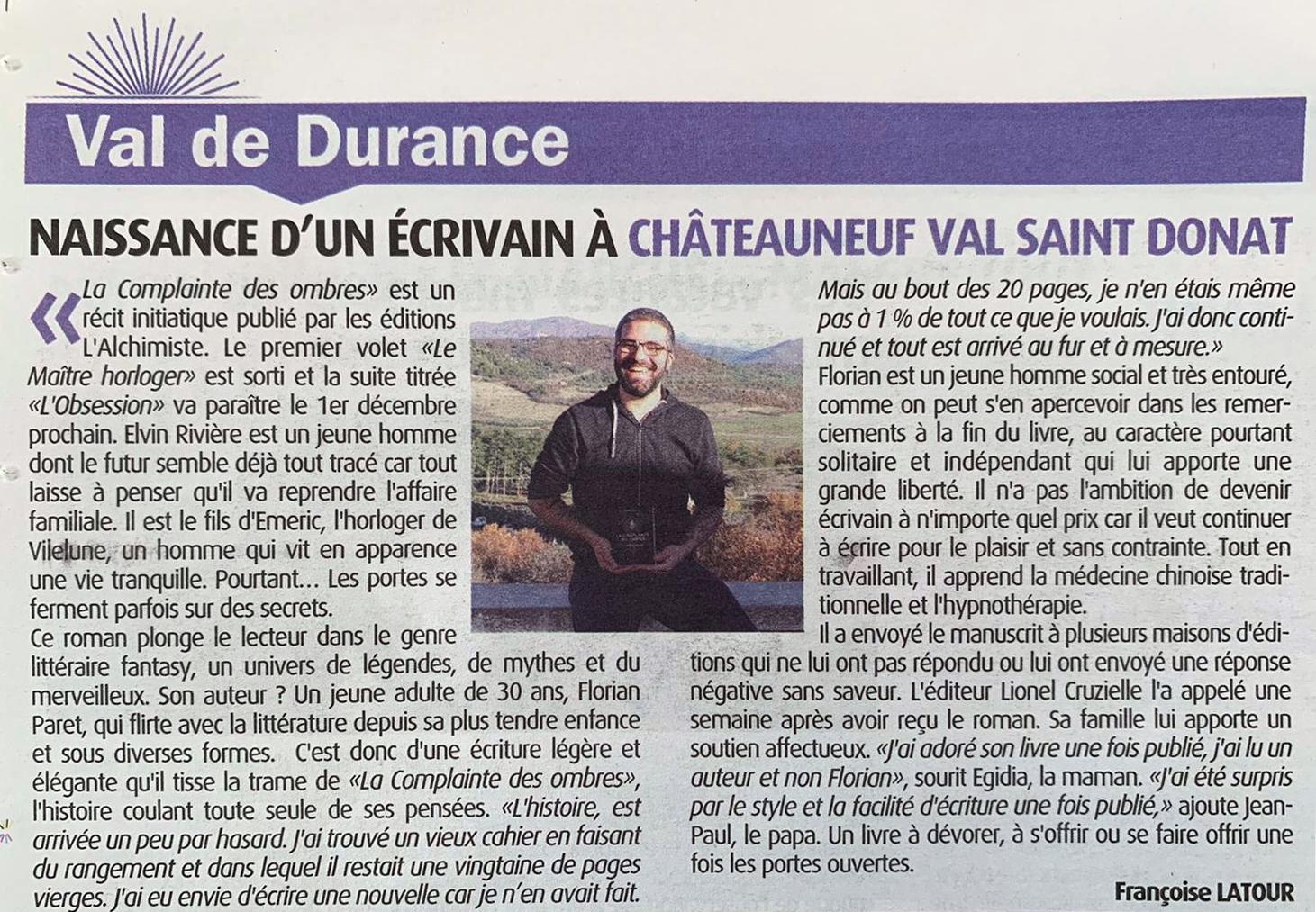 Florian Paret Haute-Provence Info
