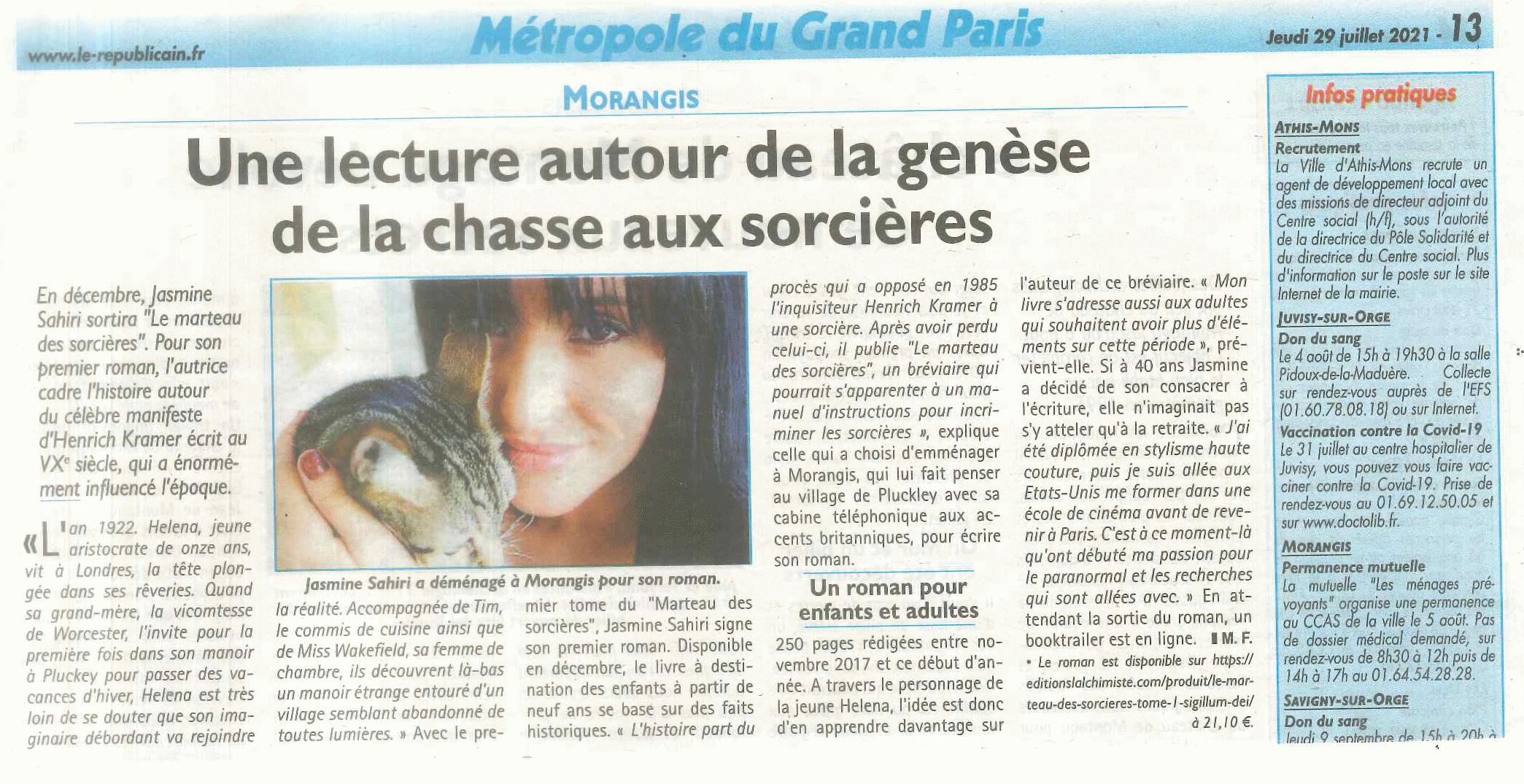 Article Le Marteau des sorcières - Itw Jasmine Sahiri -métropole du Grand Paris - 91